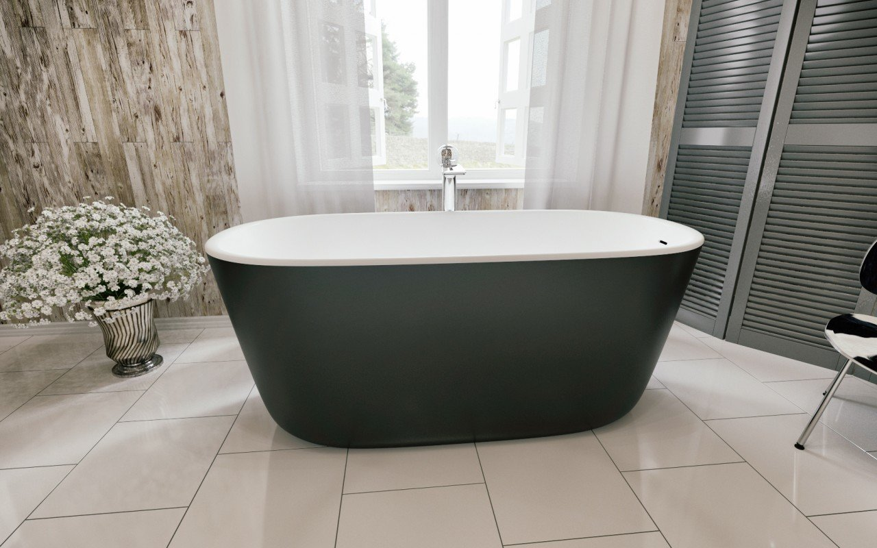 Lullaby Blck Wht Freestanding Solid Surface Bathtub by Aquatica (1)