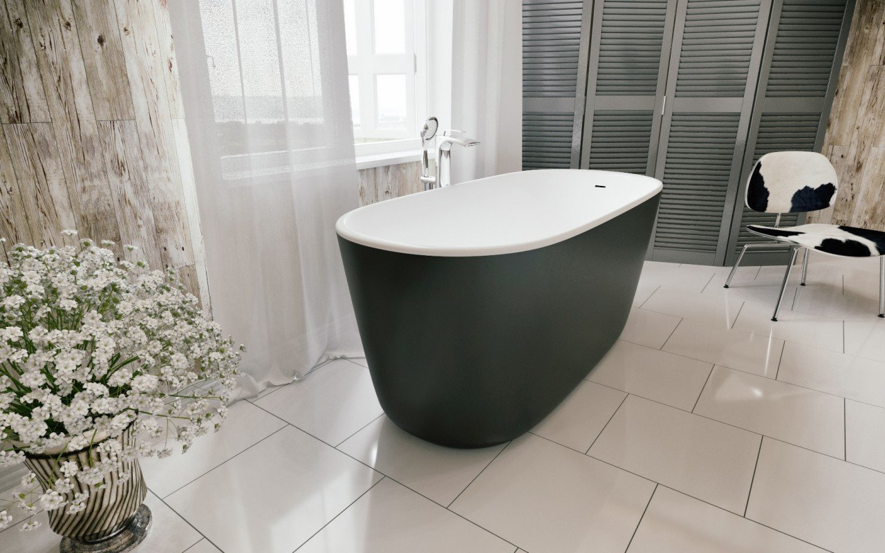 Lullaby Blck Wht Freestanding Solid Surface Bathtub by Aquatica (2)