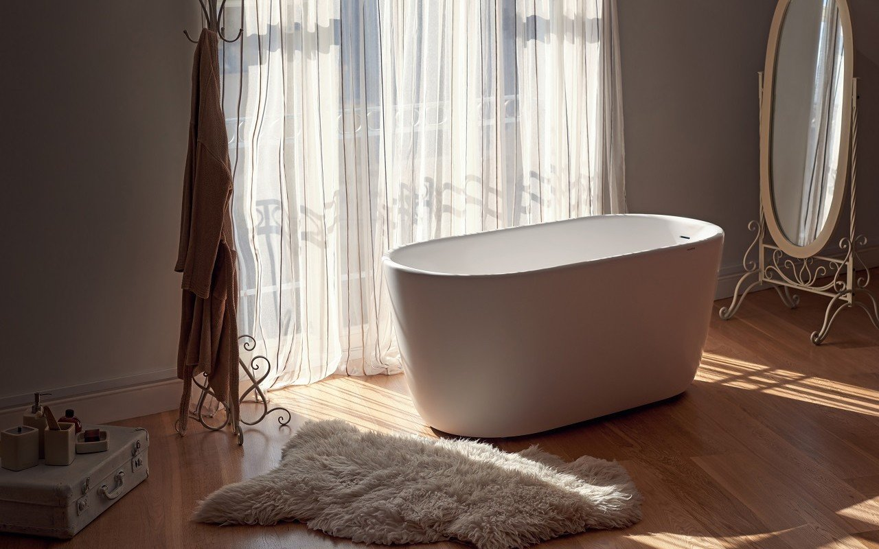 Lullaby Wht Small Freestanding Solid Surface Bathtub by Aquatica web 0113