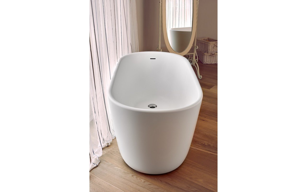 Lullaby Wht Small Freestanding Solid Surface Bathtub by Aquatica web 3