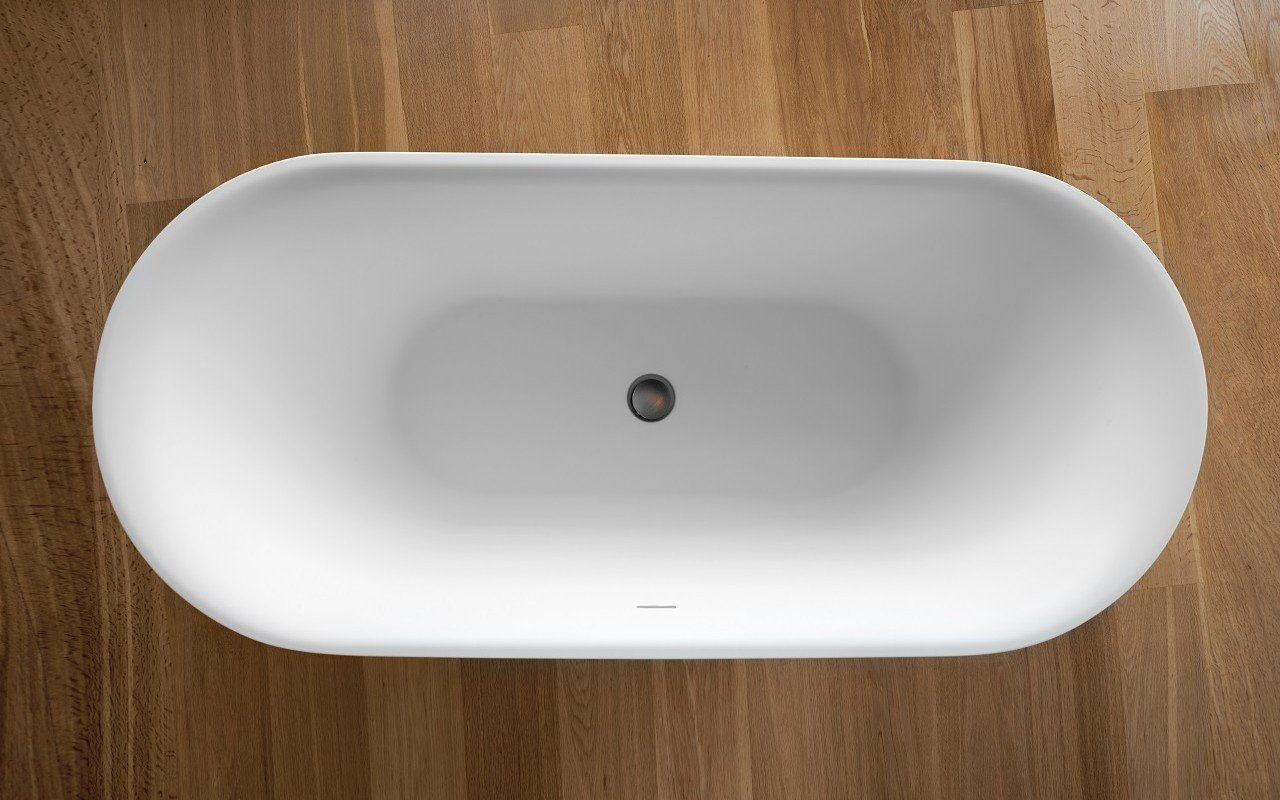 Tulip Wht Freestanding Slipper Solid Surface Bathtub by Aquatica web 0060