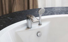 Bollicine d 121 faucet deck mounted tub filler chrome by Aquatica main