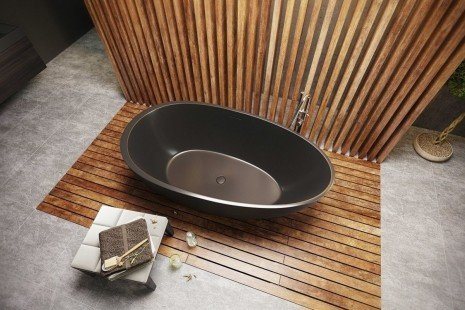 Aquatica Spoon 2 Egg Shaped Graphite Black Solid Surface Bathtub 04