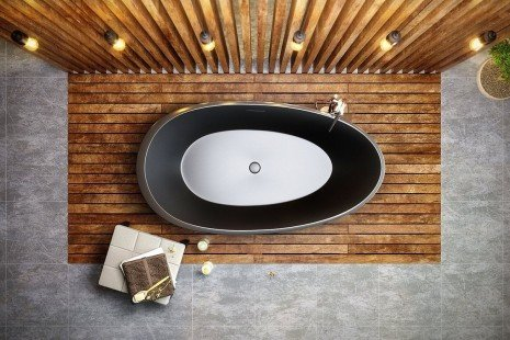 Aquatica Spoon 2 Egg Shaped Graphite Black Solid Surface Bathtub 05