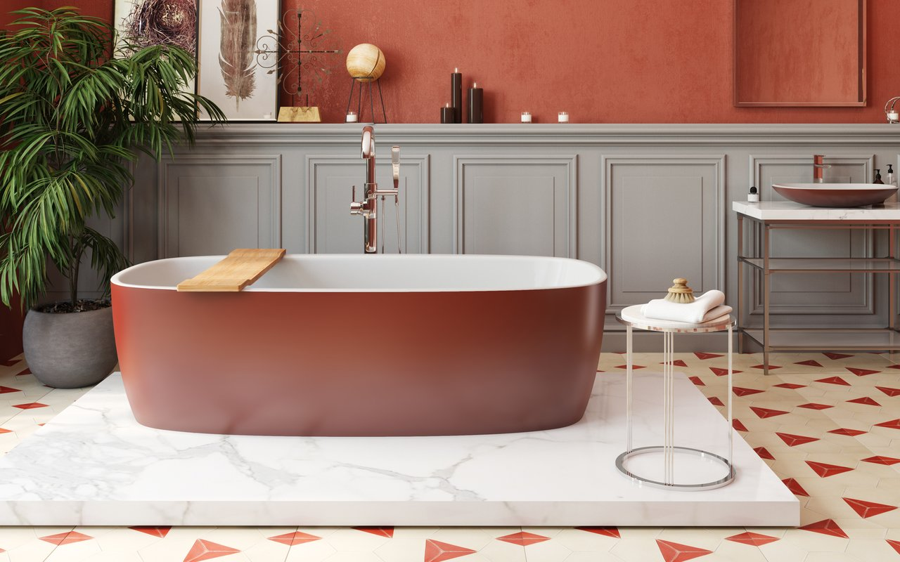 Aquatica Coletta Oxide Red Wht Freestanding Solid Surface Bathtub 01 (web)