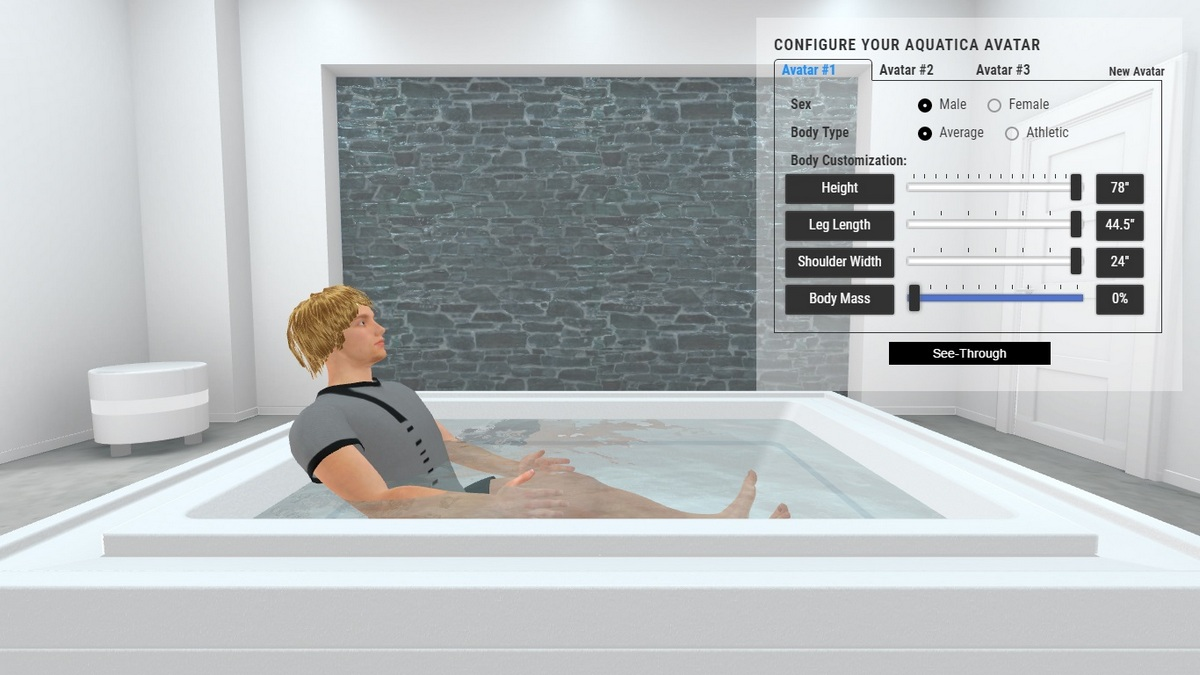 Fusion Cube Bathtub and Spa 3D Body Position