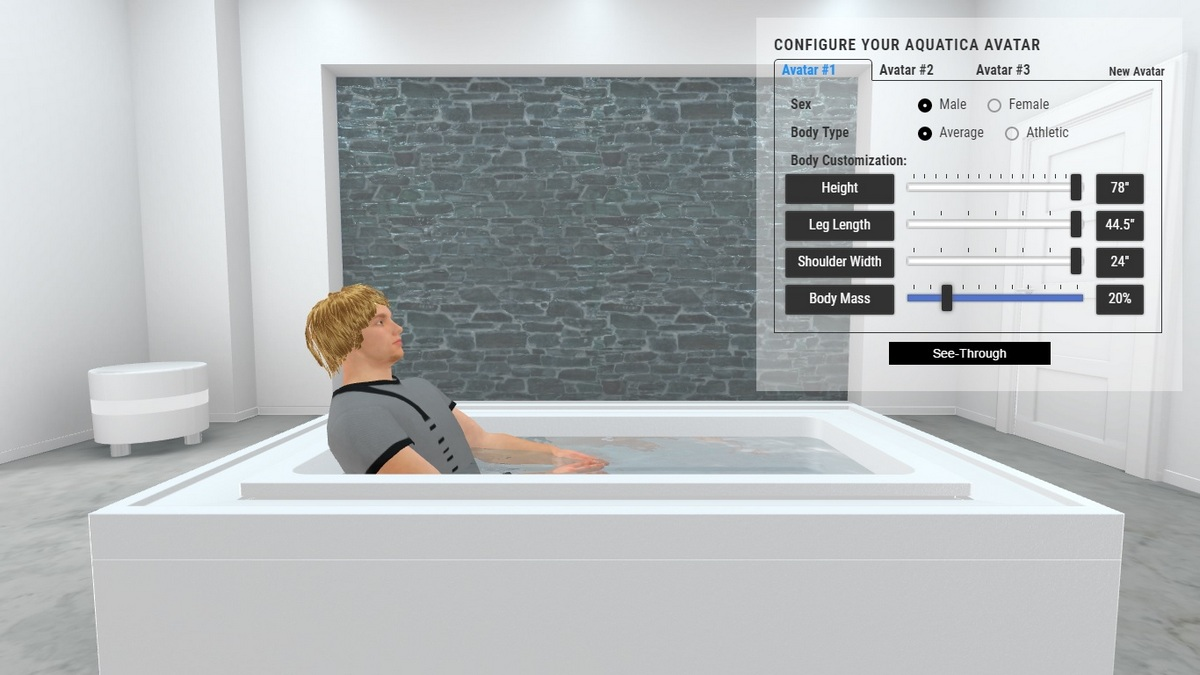 Fusion Lineare Bathtub and Spa 3D Body Position