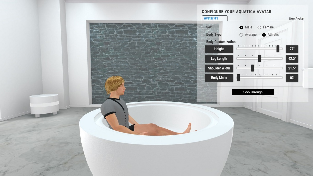 Infinity R1 Bathtub 3D Body Position