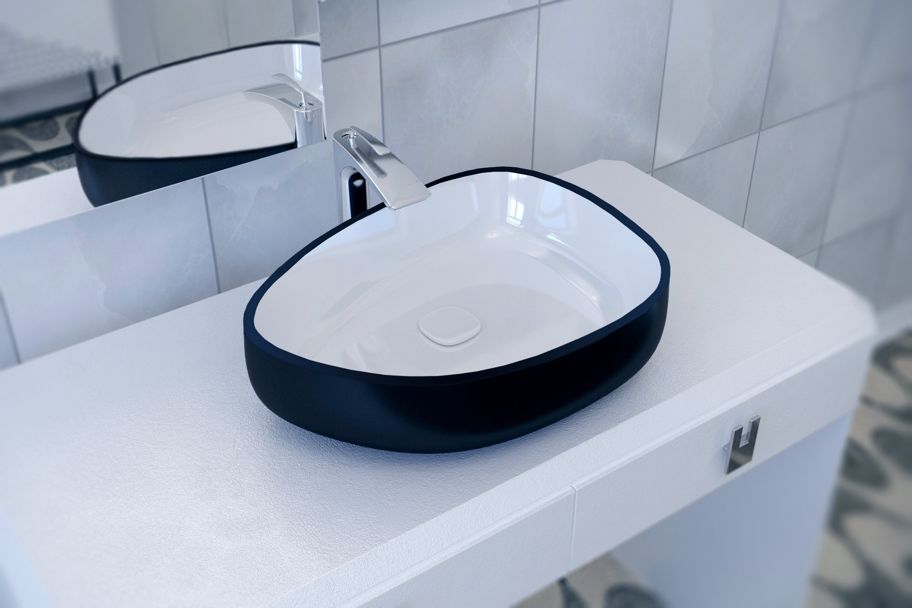 Metamorfosi Black Wht Shapeless Ceramic Bathroom Vessel Sink (1)