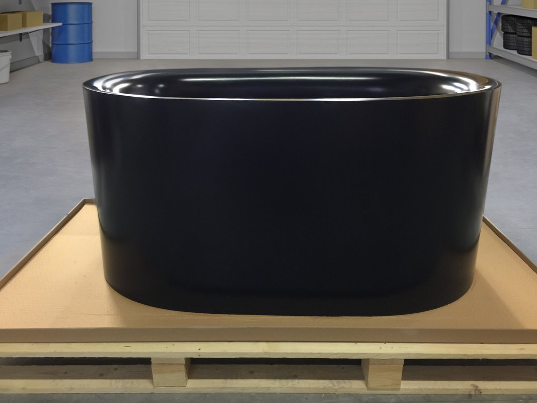 Sophia Black Freestanding Solid Surface Bathtub Fine Matte Customer Images 01 (web)