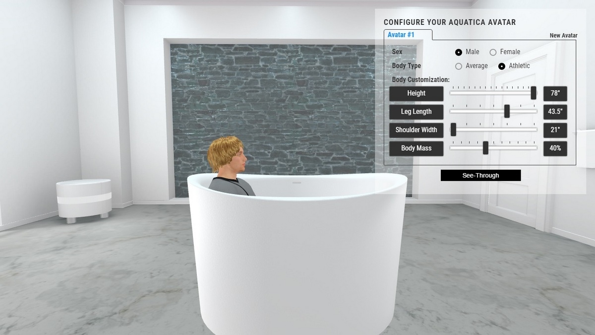 True Ofuro Duo Bathtub 3D Body Position