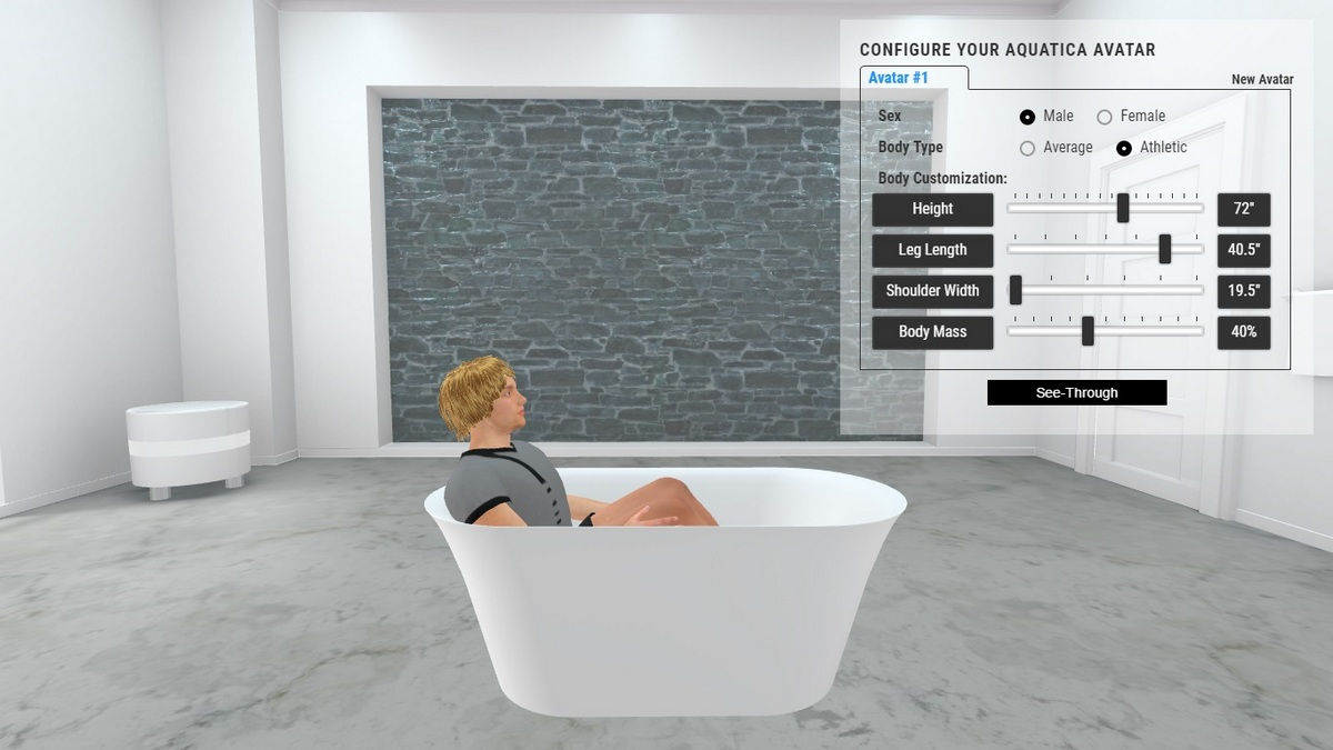 Tulip Bathtub 3D Body Position