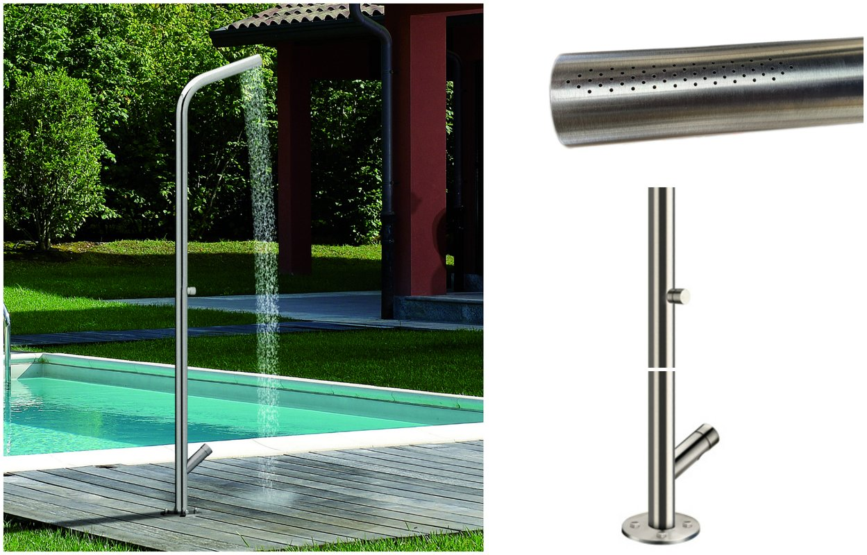 Aquatica Gamma 515 Freestanding Outdoor Shower With One Water Self Closing Tap Feet Washer Self Closing Jet and Antifreeze Emptying Water System (web)